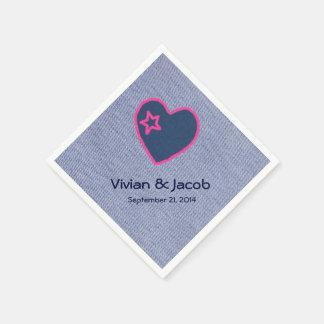 Denim-Blau mit Herz-kundenspezifischer Papierserviette