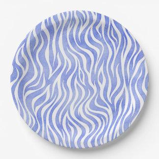 Denim-blauer Aquarellzebra-Druck Pappteller