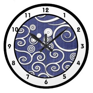 Denim-blauer Strudel-Retro Uhr