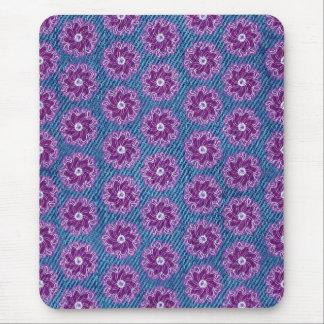 Denim und Blumen rosa und blaues mousepad