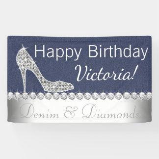 Denim-und Diamant-Geburtstags-Party-Fahne Banner