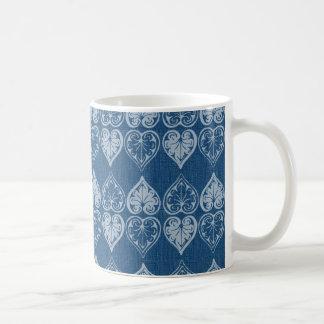 Denim Vintage Scroll Hearts Coffee Mug