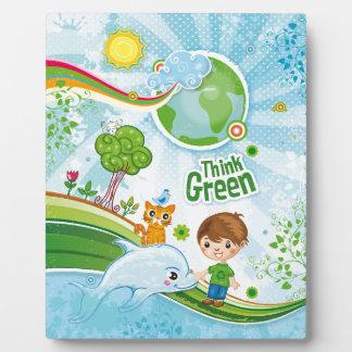 Denke ökologisch-Bewusstseins-glückliches Zitat Fotoplatte
