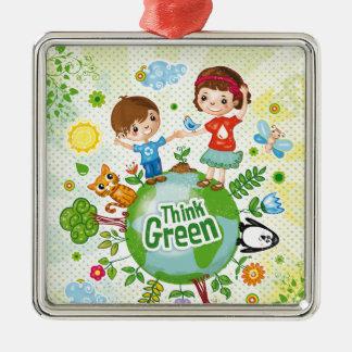 Denke ökologisch-Bewusstseins-glückliches Zitat Quadratisches Silberfarbenes Ornament