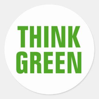 Denke ökologisch-Bewusstseins-glückliches Zitat Runder Aufkleber