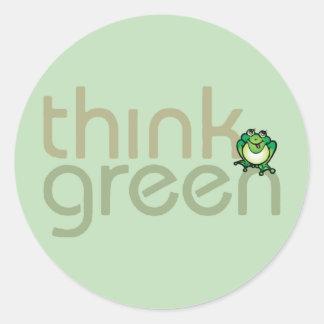 Denke ökologisch-Erdtagesaufkleber Runder Aufkleber