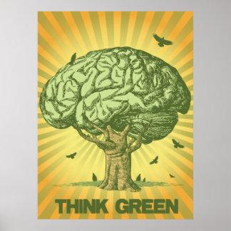 Denke ökologisch-Gehirn-Baum-Plakat