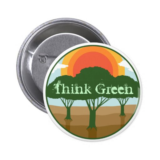Denke ökologisch-Knopf Anstecknadelbutton