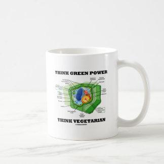 Denke ökologisch-Power denken Vegetarier Kaffeetasse