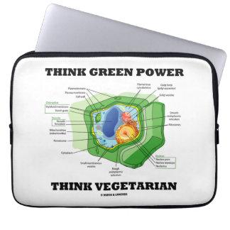 Denke ökologisch-Power denken Vegetarier Laptop Sleeve Schutzhüllen