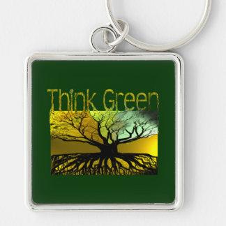 Denke ökologisch silberfarbener quadratischer schlüsselanhänger