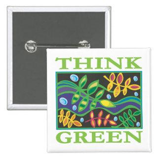 Denke ökologisch umweltsmäßig quadratischer button 5,1 cm