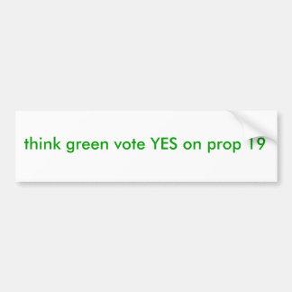 denke ökologischabstimmung JA auf Stütze 19 Autoaufkleber