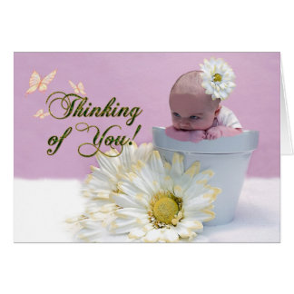 Denken an Sie - Baby im FlowerPot Karte