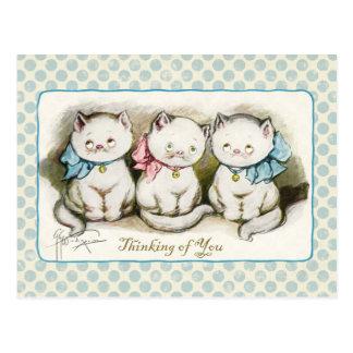 Denken an Sie drei Kätzchen-Vintage Wiedergabe Postkarte
