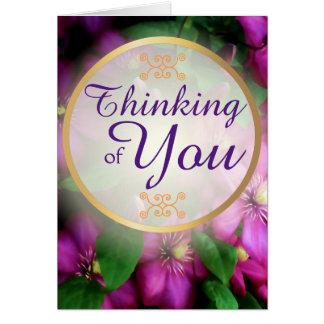 Denken an Sie lila rosa Clematis-Blumen Karte