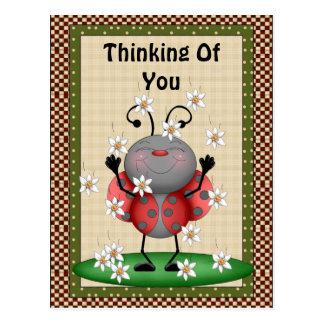 Denken an Sie Marienkäfer-Postkarte Postkarte