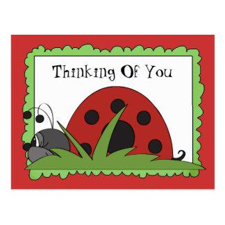 Denken an Sie Marienkäferpostkarte Postkarte