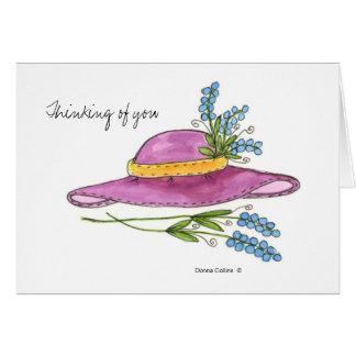 Denken an Sie * rosa Hutanmerkungskarte Karte