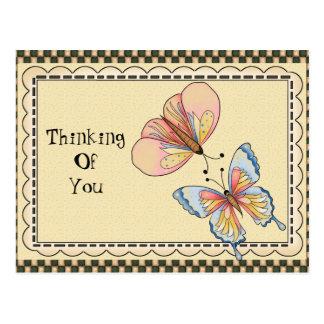 Denken an Sie Schmetterlings-Cartoonpostkarte Postkarte