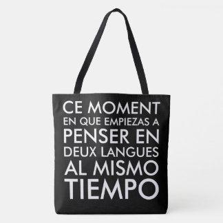 Denken auf französisches und spanisch tasche