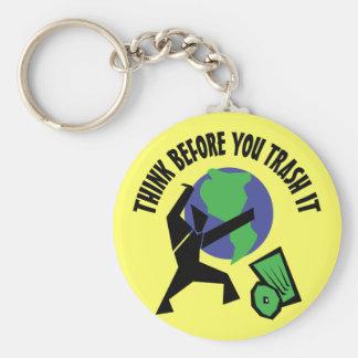 Denken Sie, bevor Sie es Trash Schlüsselanhänger