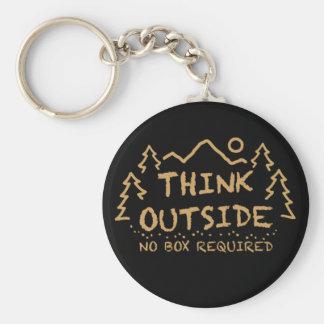 Denken Sie draußen, kein erforderter Kasten Schlüsselanhänger