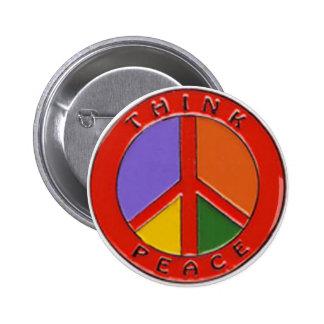 Denken Sie Friedensfriedenszeichen Runder Button 5,7 Cm
