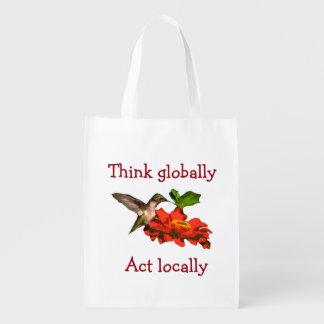 Denken Sie global Taten-am Ort Kolibri Wiederverwendbare Einkaufstasche