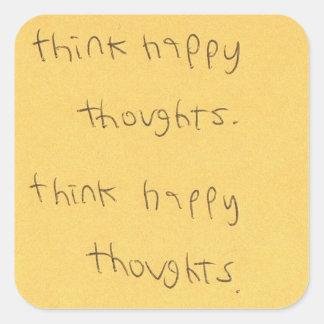 denken Sie glücklichen Gedankenaufkleber Quadratischer Aufkleber