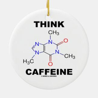 Denken Sie Koffein (Koffein-chemisches Molekül) Rundes Keramik Ornament