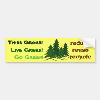 Denken Sie, leben Sie u. gehen Sie Grün - Autoaufkleber