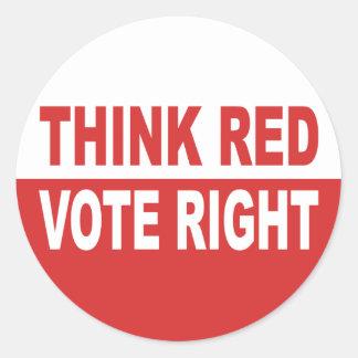 Denken Sie rotes Abstimmungs-Recht Runder Aufkleber