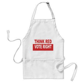 Denken Sie rotes Abstimmungs-Recht Schürze