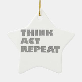 Denken Sie Taten-Wiederholung Keramik Stern-Ornament