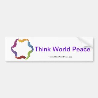 Denken Sie WeltfriedensAutoaufkleber Autoaufkleber