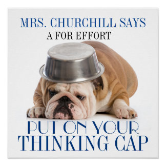 Denkende Kappen-SchulSpaß-Plakat Poster