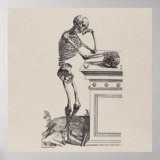 Denkendes Skelett Poster