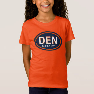 Denver Co 5.280-FT-blauer orange Fußball-T - Shirt
