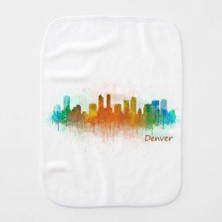 Denver Colorado City Watercolor Skyline Hq v3 Baby Spucktuch