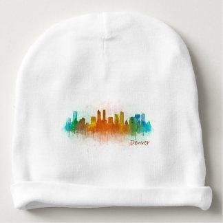 Denver Colorado City Watercolor Skyline Hq v3 Babymütze