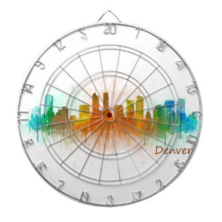 Denver Colorado City Watercolor Skyline Hq v3 Dartscheibe