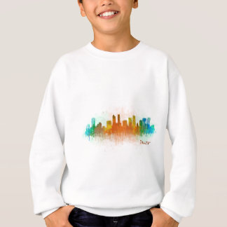 Denver Colorado City Watercolor Skyline Hq v3 Sweatshirt