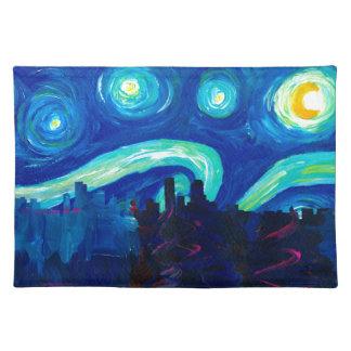 Denverskyline-Silhouette nachts Starry Tischset