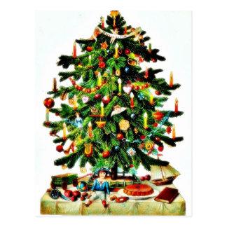 Deocrated Weihnachtsbaum mit den Geschenken Postkarte