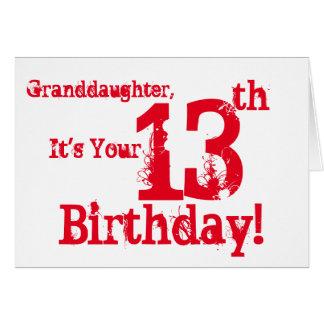 Der 13. Geburtstag der Enkelin in Rotem und in Karte