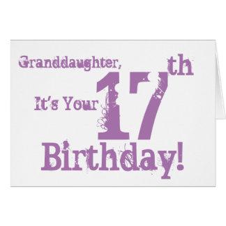 Der 17. Geburtstag der Enkelin im Purpur Karte