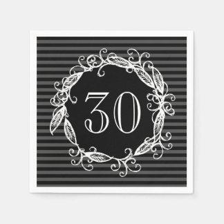 Der 30. Geburtstags-weißes schwarzes Wirbles der Serviette