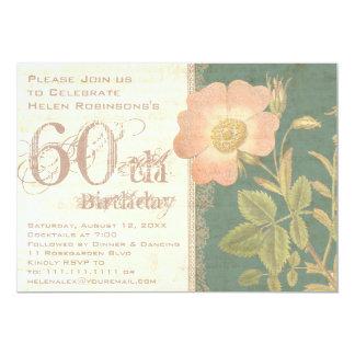 Der 60. Geburtstags-Vintage Rose des eleganten Karte