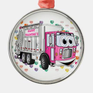 Der Abfall-LKW 3D des Valentinsgrußes Silbernes Ornament
